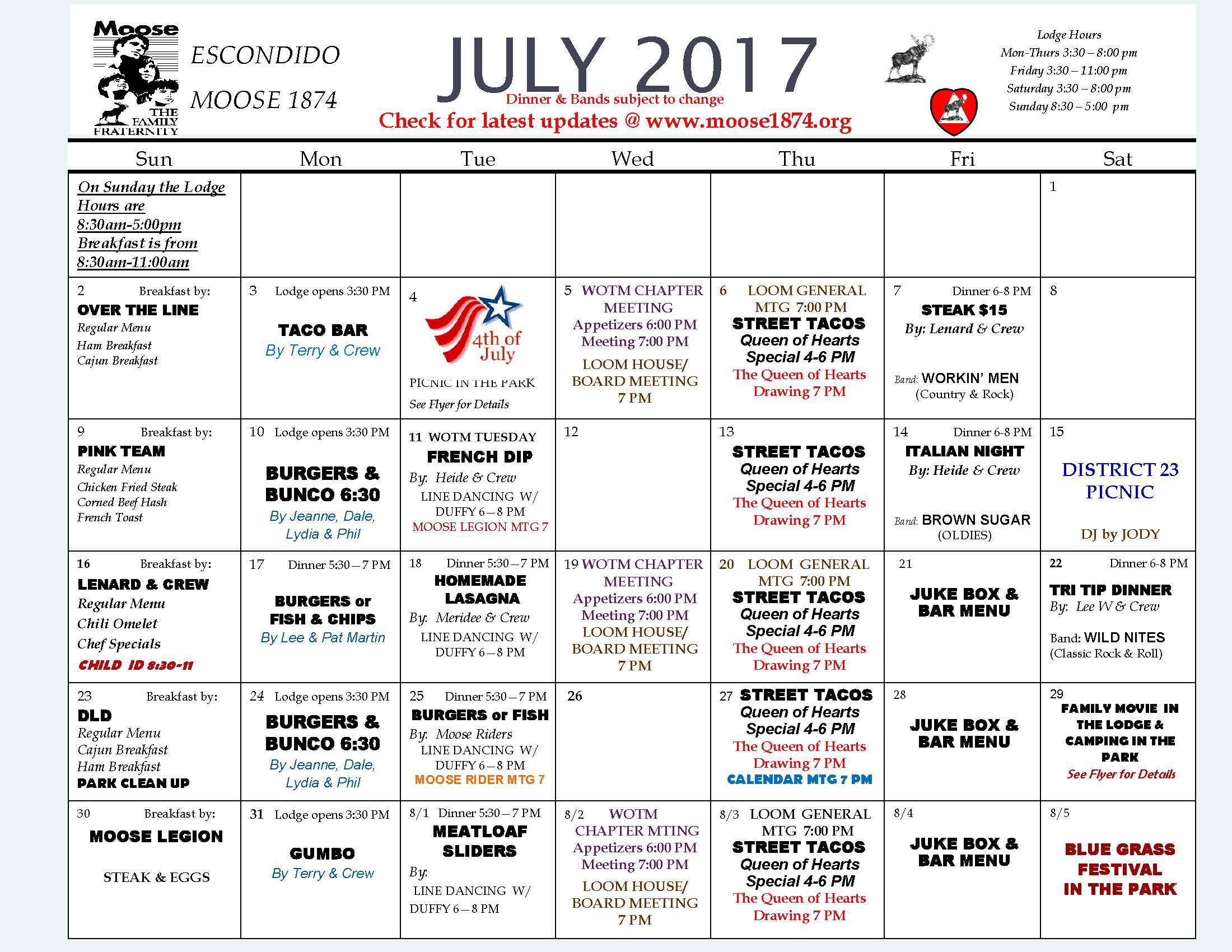 Moose Calendar JULY 2017 - Moose 1874